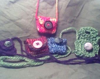 Amulet Pouch Necklace set of 5/ handmade / hand knit / party favors / shower favors/ kids party favors/ ring holder/ nurse / vet tech gift