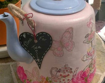 Time for Tea. Upcycled vintage metal kettle, painted, decoupaged and embellished. For decorative use only.