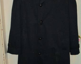 Vintage 1970's Harbor Master John Weitz Navy Wool Coat with removable lining SZ 42R