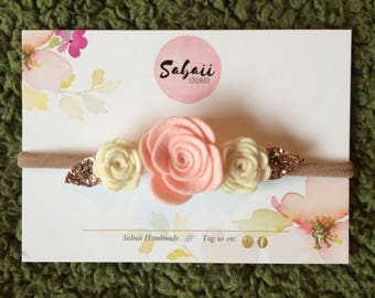 Felt Flower headband, felt headband, Felt flower crown, Baby felt headband, baby headband, rose headband, gifts for girls