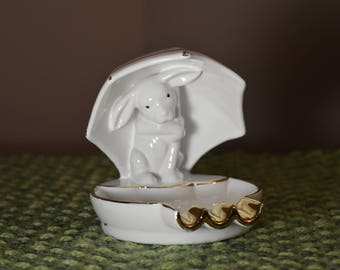 Vintage made in Portugal bunny under umbrella ashtray by Pereiras Valado #1644 china ware in white with hand painted gold trim