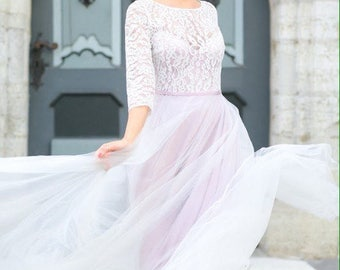 Lilac purple wedding dress / Fluffy skirt bridal / Open back long sleeves gown / Corset wedding gown / 2017 bridal dress / Romantic bridal