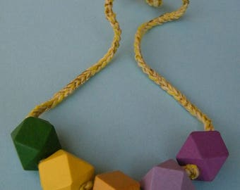 Colourful wooden beads necklace