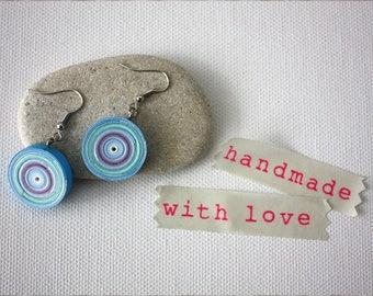 Quilling paper earrings. Handmade paper jewellery. Jewelry. Blue earrings.