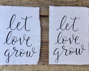 Let Love Grow wedding favor, Seed paper wedding favor, Wedding party gift