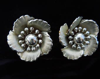 earrings signed Coro vintage clips silver tone