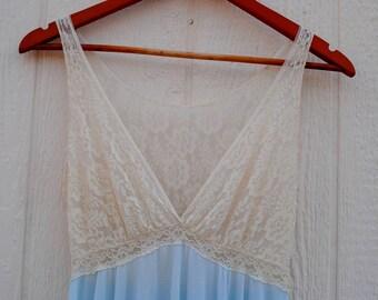 1970's Maxi Nightgown Dress • Maxi Dress • Pastel • Pastel Grunge • Vintage Maxi Dress • Nightgown • Lingerie