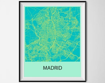Madrid Map Poster Print - Blue and Yellow