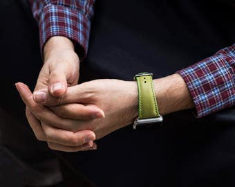 Apple Watch leather bracelet bracelet strap series 1 series 2 vintage leather in green leatherette