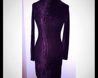 80s Burgundy Ribbed Velvet Bodycon Dress