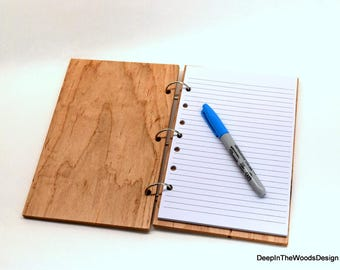 Wood Notebook - Solid Maple Covered Notebook - Office Gift