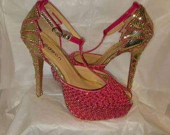 Stunning hand decorated rhinestone  ladies shoes size 5 only 1 made in this design*sale*
