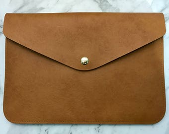 Personalised Monogram Leather Envelope Clutch in Light Brown with detachable wrist strap