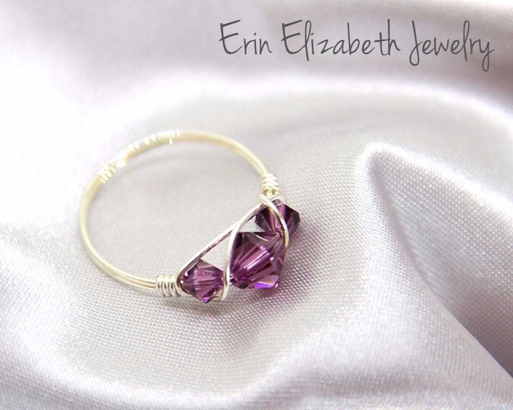 Purple Crystal Ring, Simple Wire Wrapped Ring, February Birthstone ...