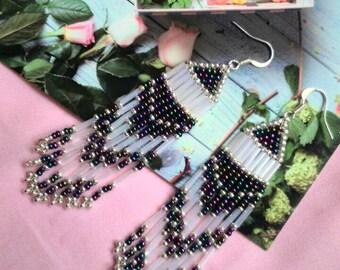 COSMIC seed bead earrings, Seed bead jewelry, Seed bead long earrings