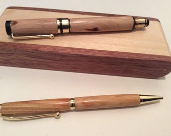 Handcrafted Cherry fountain and ballpoint pen set with Maple and Rosewood Box