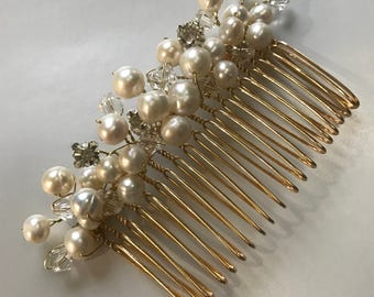 Freshwater Pearl & Swarovski Crystal Bridal hair comb