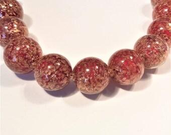 Beautiful Murano glass red aventurina 12mm round beads, venetian beads, Uk beads, 10beads.