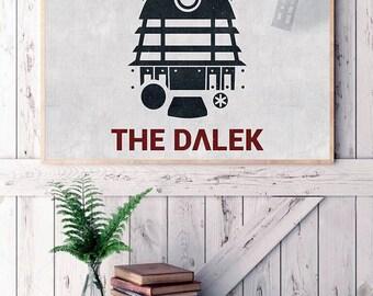 The Dalek poster, doctor who print,  movie poster, dalek print, bbc, exterminate poster, the dalek illustration, dalek