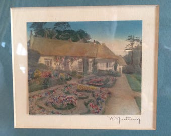 "Signed Wallace Nutting ""Blethen Gardens"" Hand-Colored Photograph"