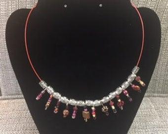 Beaded Safety Pin Necklace