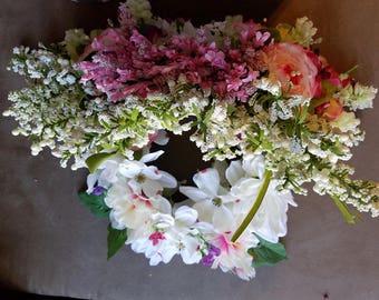 White, pink, green wreath floral fairy headpiece, renaissance festival, cosplay, wedding, halloween costume