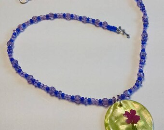 Purple and Blue Necklace with Green Shell Pendant