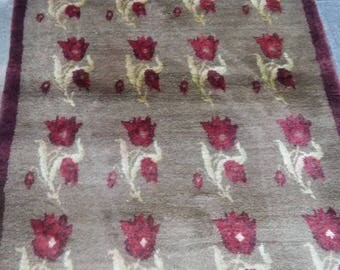 Oushak Rug,Vintage Oushak rug,Turkish Rug  Tulu,3×6ft,Floral Tulu,Home Living,Woolen weaving,Soft Rugs, Smiley pattern,Floor Rug,Etsy Rug