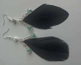 Bohemian black feather and blue jewel earrings