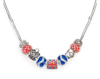 Liberty Charms Silver Plated 'London Union Jack' British Charm Bead Necklace With Gift Box & Velvet Pouch