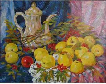 Oil painting, oil on canvas, still life with apples, autumn still life, still life with fruit, realism 40х50cm
