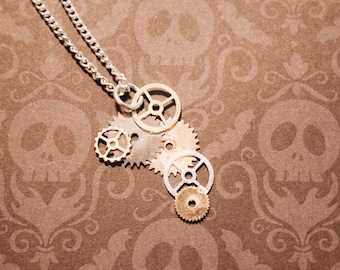 Steampunk Sterling Silver Gears Necklace, Dainty Necklace