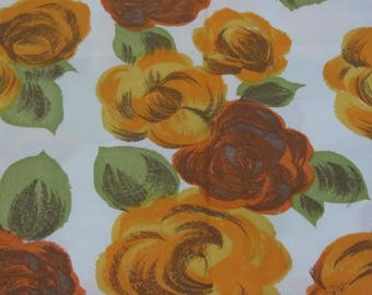 Vintage Floral Fabric of Oranges, Green, and Cream