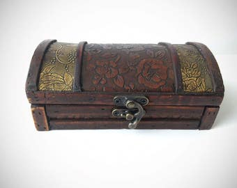 Medium Curio Box/ Jewelry Storage Box/ Wooden Box with Floral Metal Design