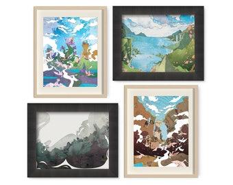 Distant Realms - Mini Art Print Set - Fantasy Landscape - Fantasy Art - Floral Home Decor - Surrealism - Surreal Art - Dreamscape - Wall Art