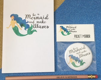 Be a mermaid and make waves , stationary set , notebook , pencil amd pocket mirror , official Wish String Co xx