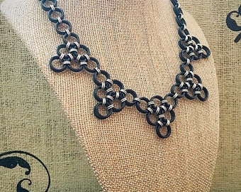 Chainmail Necklace - Japanese Lace Statement in Black and Silver
