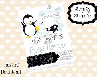 Arctic Animals Baby Shower invitations, printable, you print, DIY instant download, editable baby shower template, blue,  baby boy.