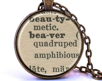 Beaver Dictionary Pendant Necklace