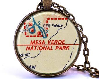 Mesa Verde, Colorado Map Pendant Necklace - Created from a vintage map published in 1956.