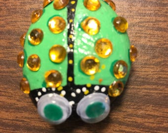 Painted Rock - Green Jewel Bug