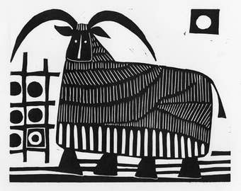Sheep Linocut: Ruminating 1 - linocout, black and white, relief print,  hand printed, limited edition, original art work, sheep linocut