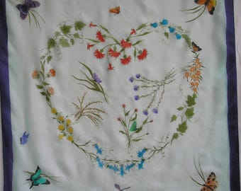pure hand-painted silk scarf