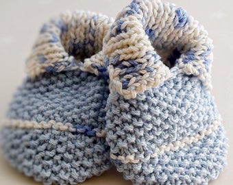 Collared Knitted Booties – Handmade baby shoes - baby shower gifts - newborn present - spring bootees