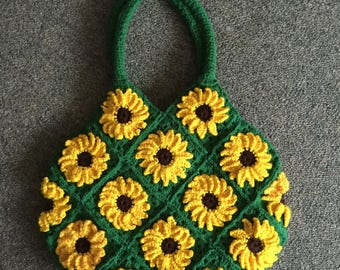 Crochet sunflower handbag