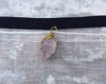 Wire Wrapped Rose Quartz on Felt Choker