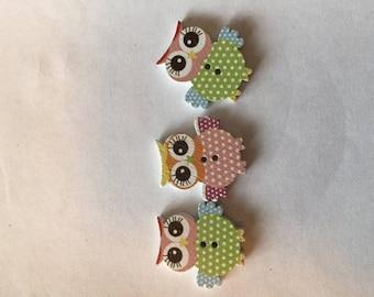 Owl Shaped Wood Buttons Two Hole Sku: 0033