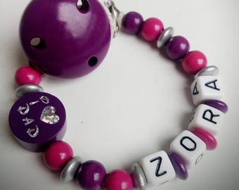 "Attached nipple ""I love mom/dad"" Purple and fuschia - model ""Zora"""