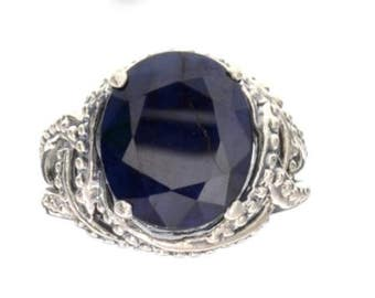 9.60CT Oval Cut Sapphire and Sterling Silver Ring
