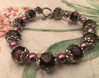 Black & Orchid Rose Bracelet